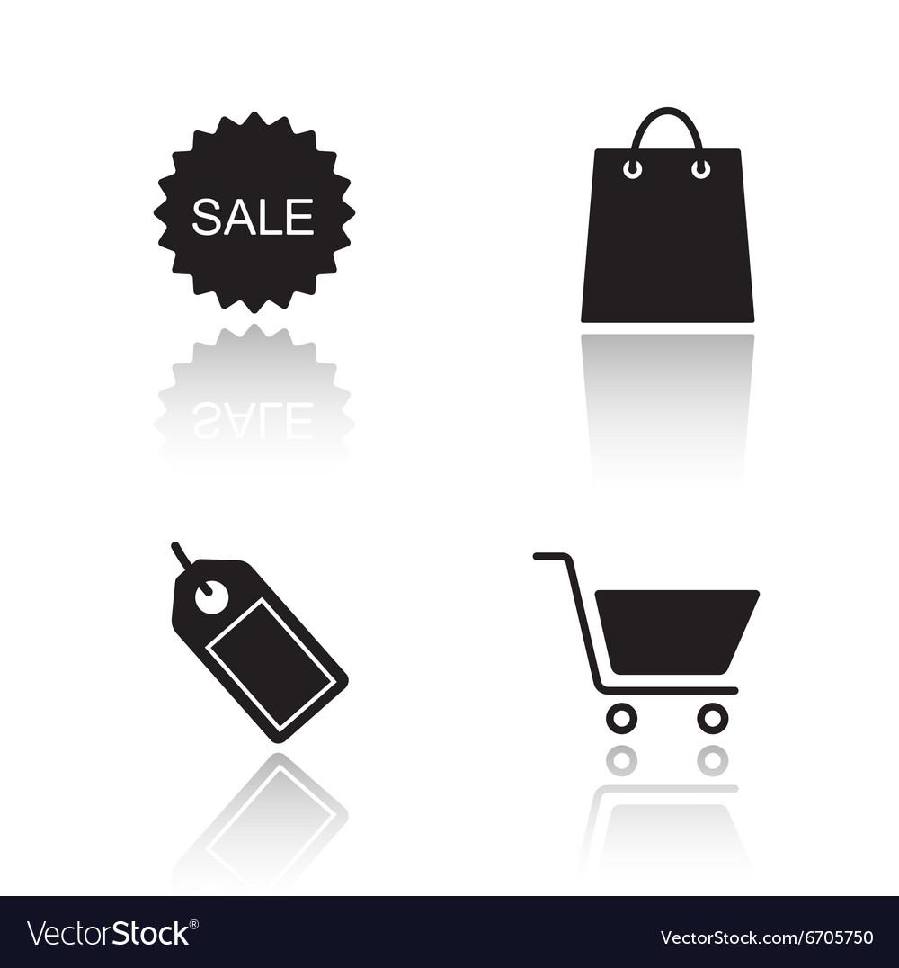 E-commerce drop shadow icons set vector image