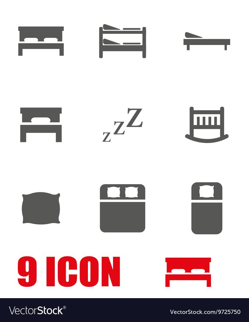 Grey bed icon set