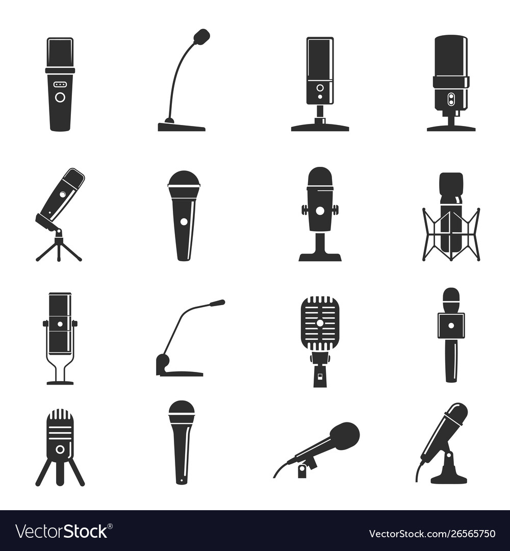 Microphone icon set professional equipment for