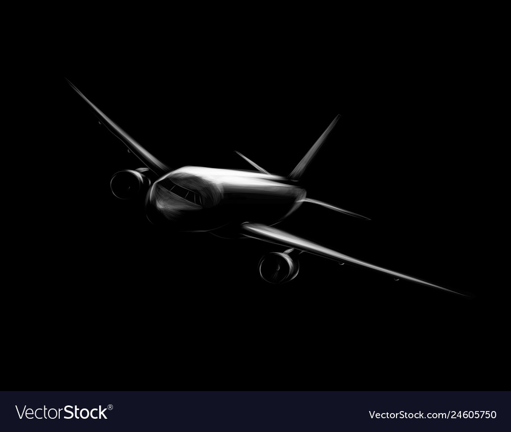 Passenger airplane on a black background hand