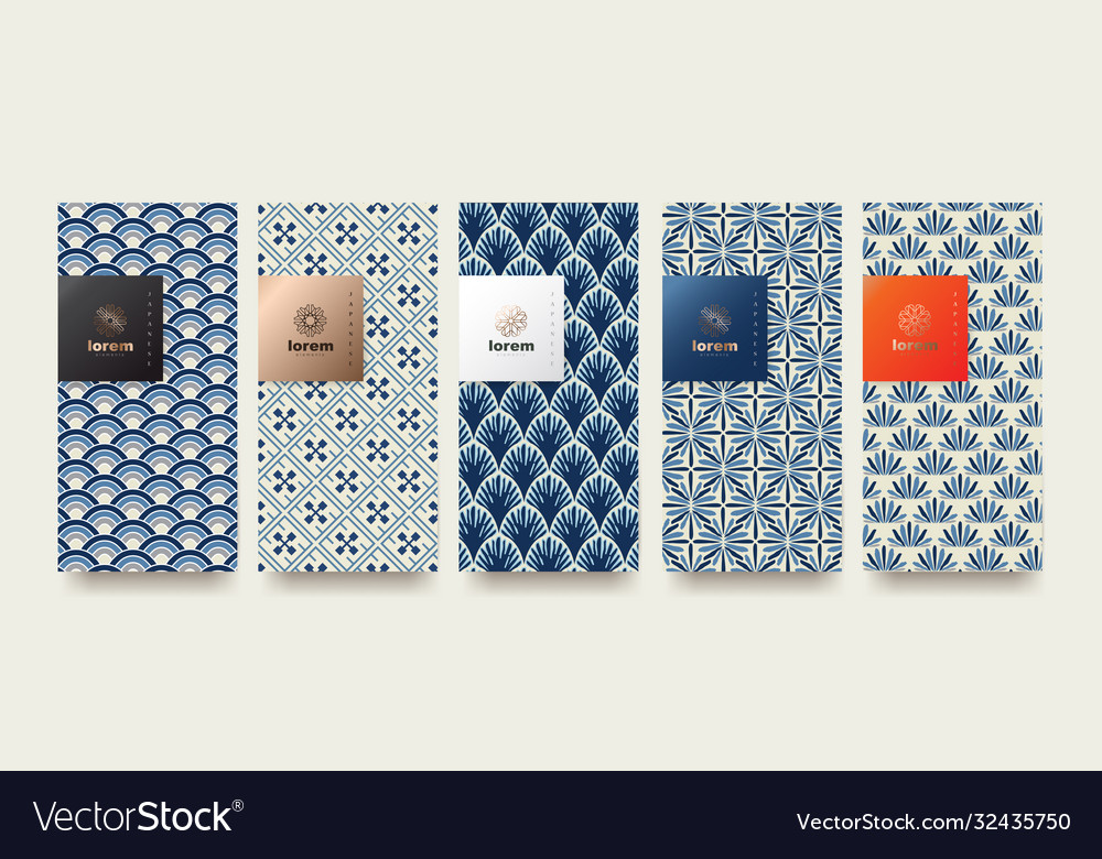 Set packaging templates japanese nature luxury