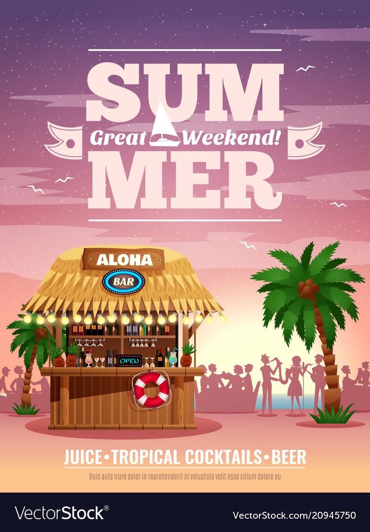 Tropical bar advertisement poster
