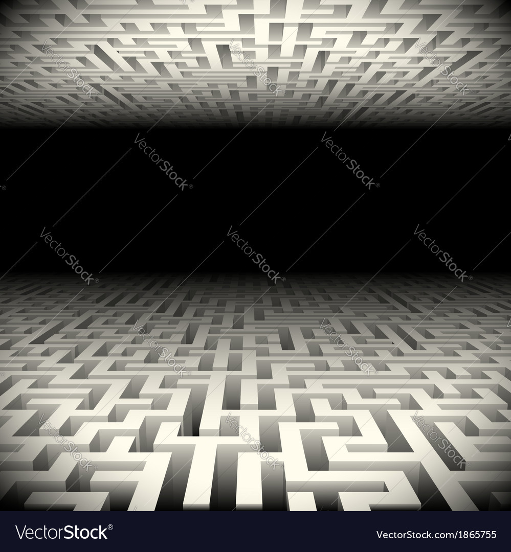 Abstract white perspective labyrinth in the