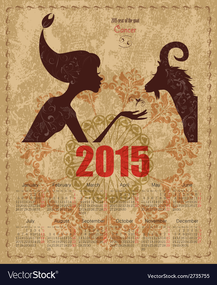 Calendar for 2015 year with a goat and Zodiac sign