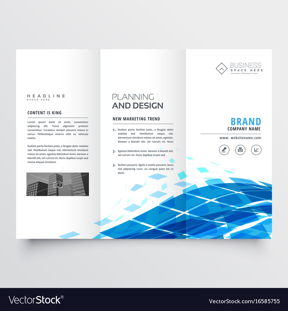 corporate tri fold brochure design with blue vector image