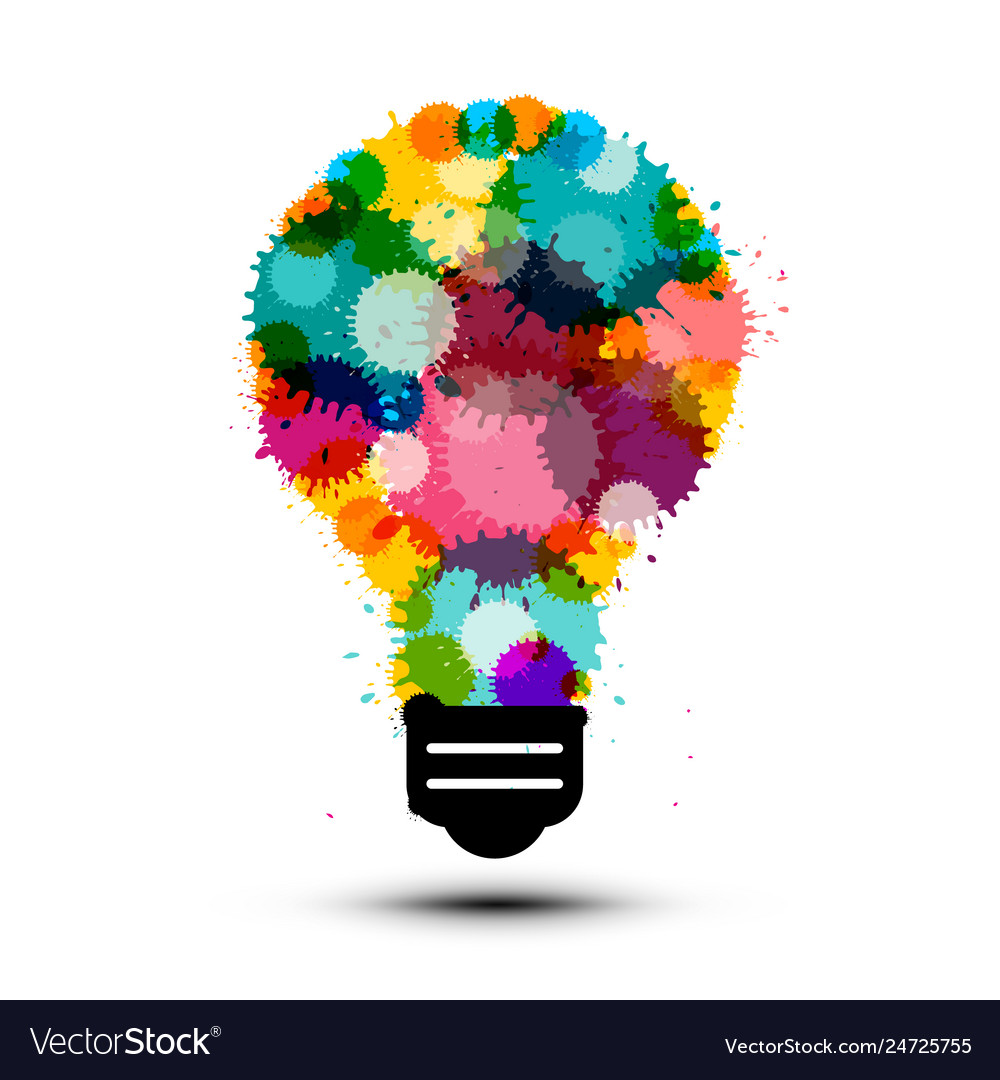Creativity concept with colorful splashes in bulb