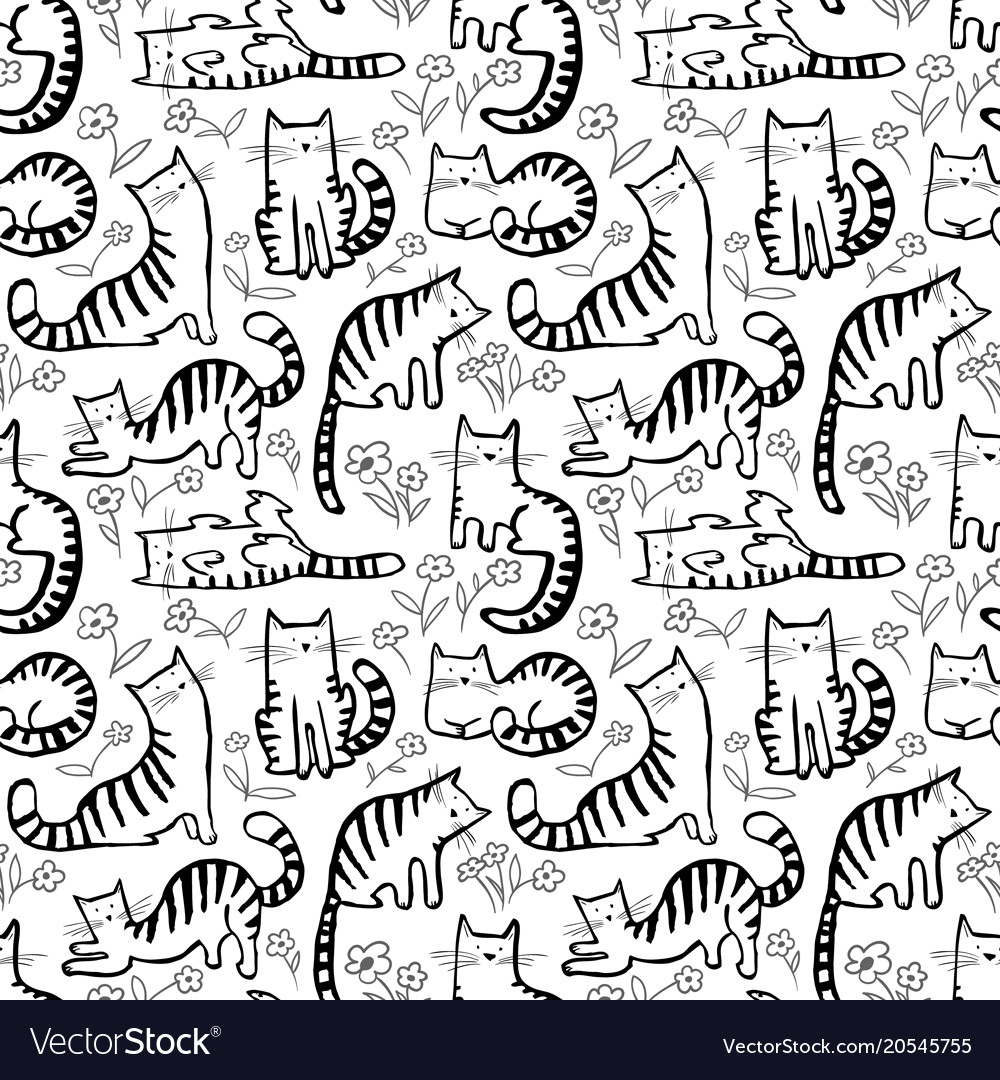 Cute cats seamless pattern background with hand