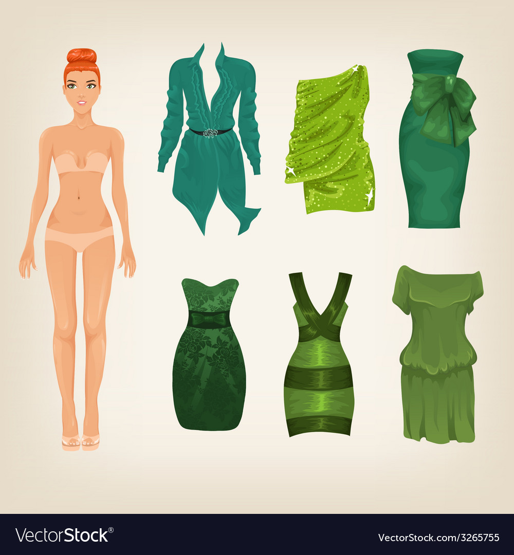 Dress up paper doll with an assortment of green