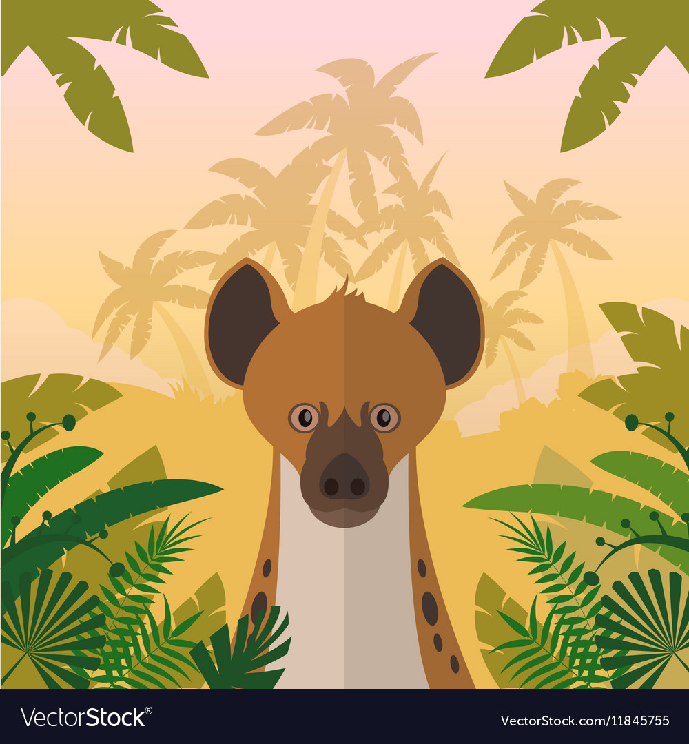 Hyena on the Jungle background vector image