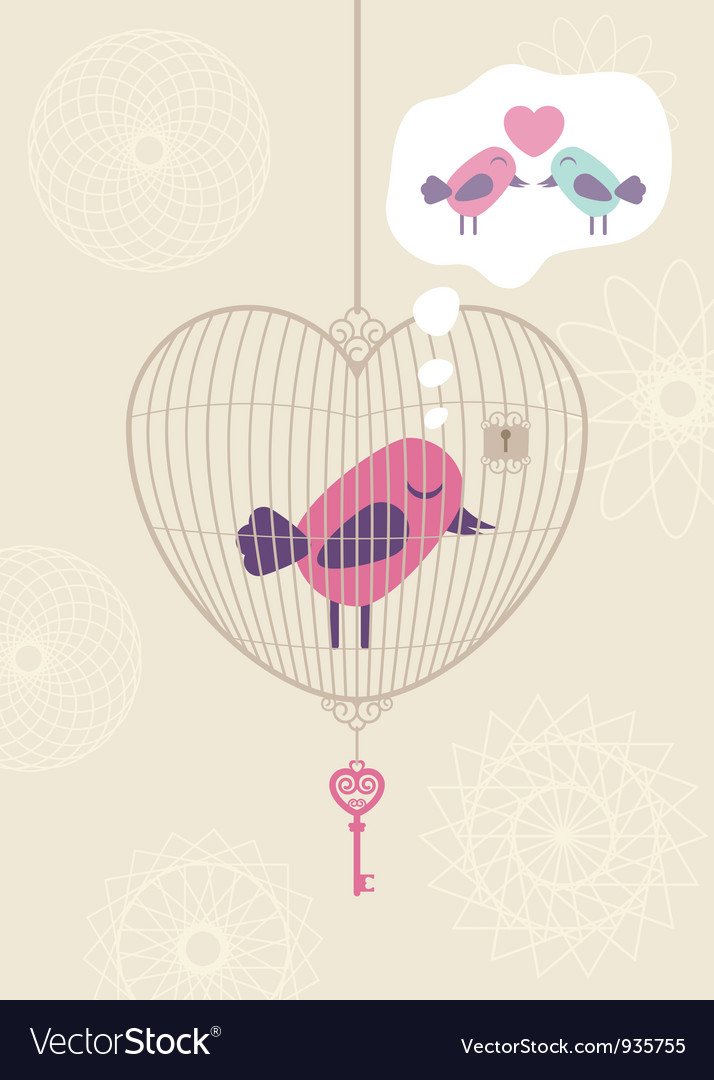 Love cage with lonely bird