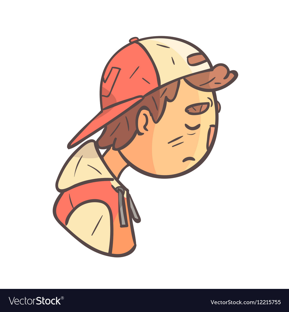 Sad boy in cap and college jacket hand drawn emoji vector image