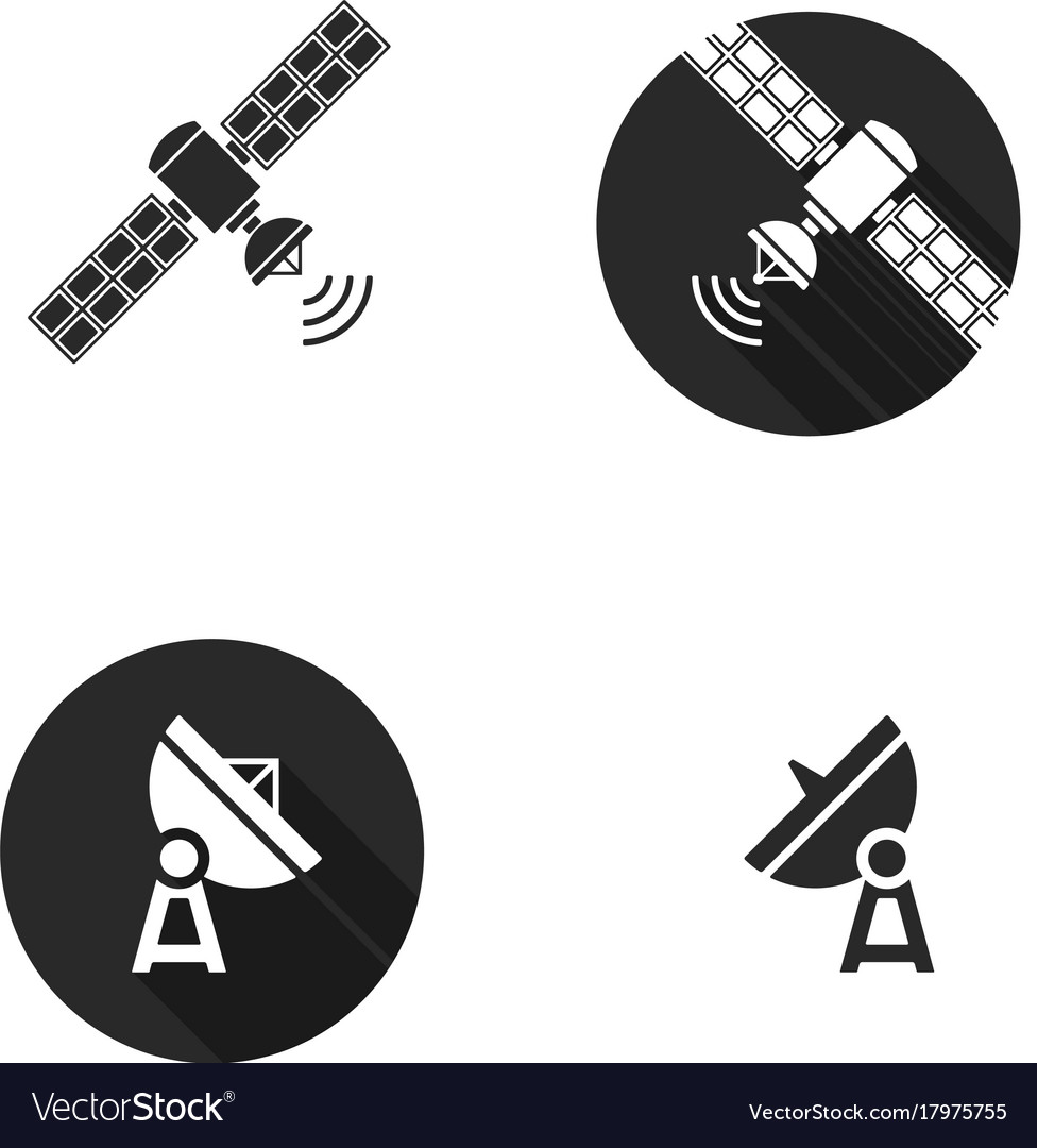 Satellite silhouoette flat icons