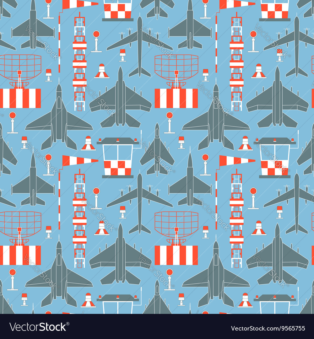 Seamless pattern with military airplanes
