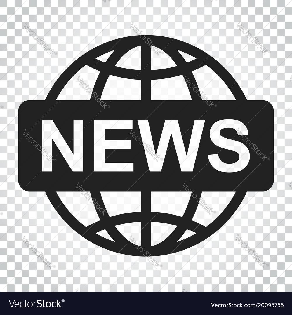 News: World News Flat Icon News Symbol Logo Business Vector Image