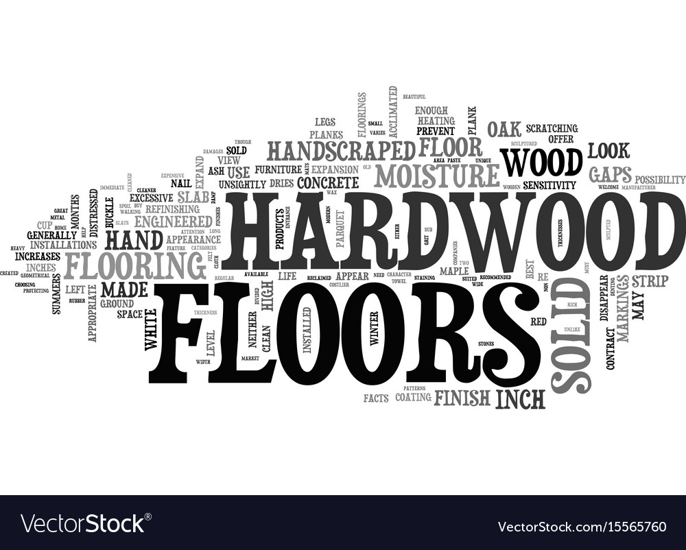 A look at solid hardwood floors text word cloud vector image