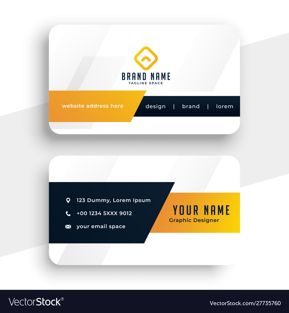 Abstract modern yellow business card template