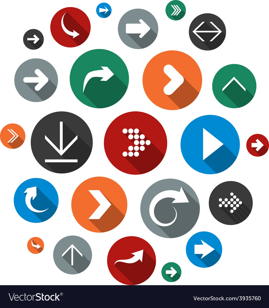 Cloud set of round modern arrow icons