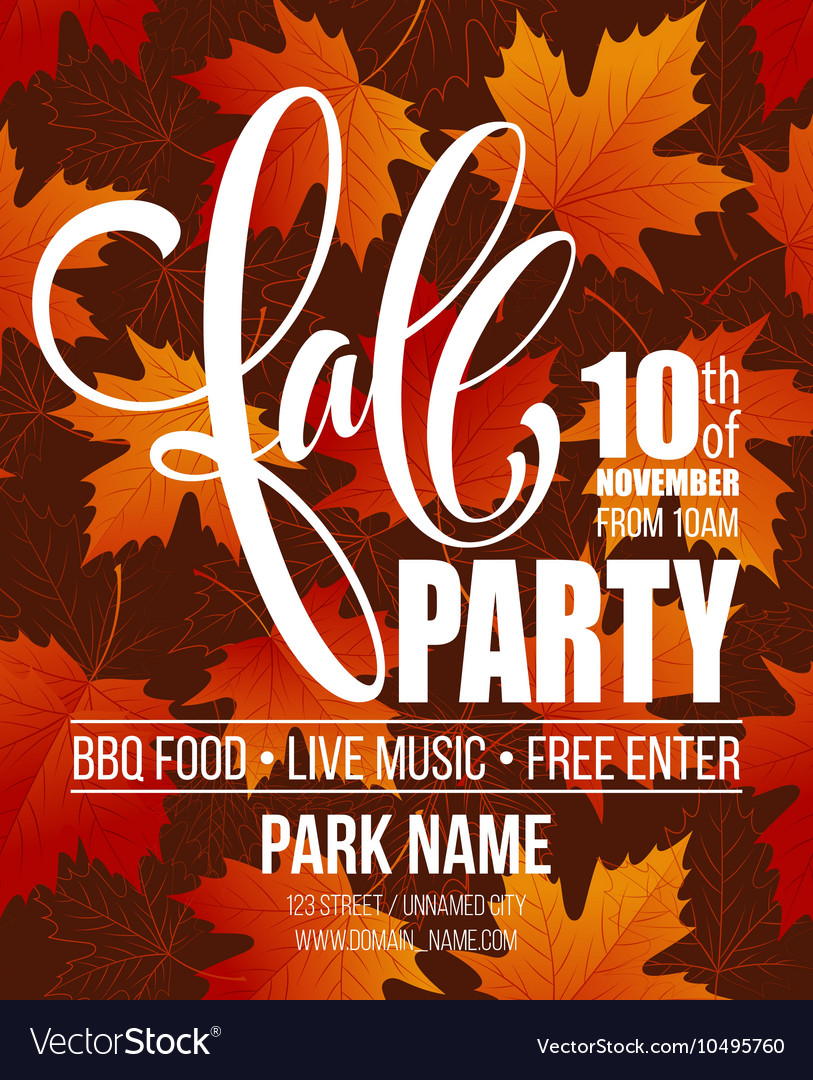 Fall Party Template for Autumn poster banner vector image