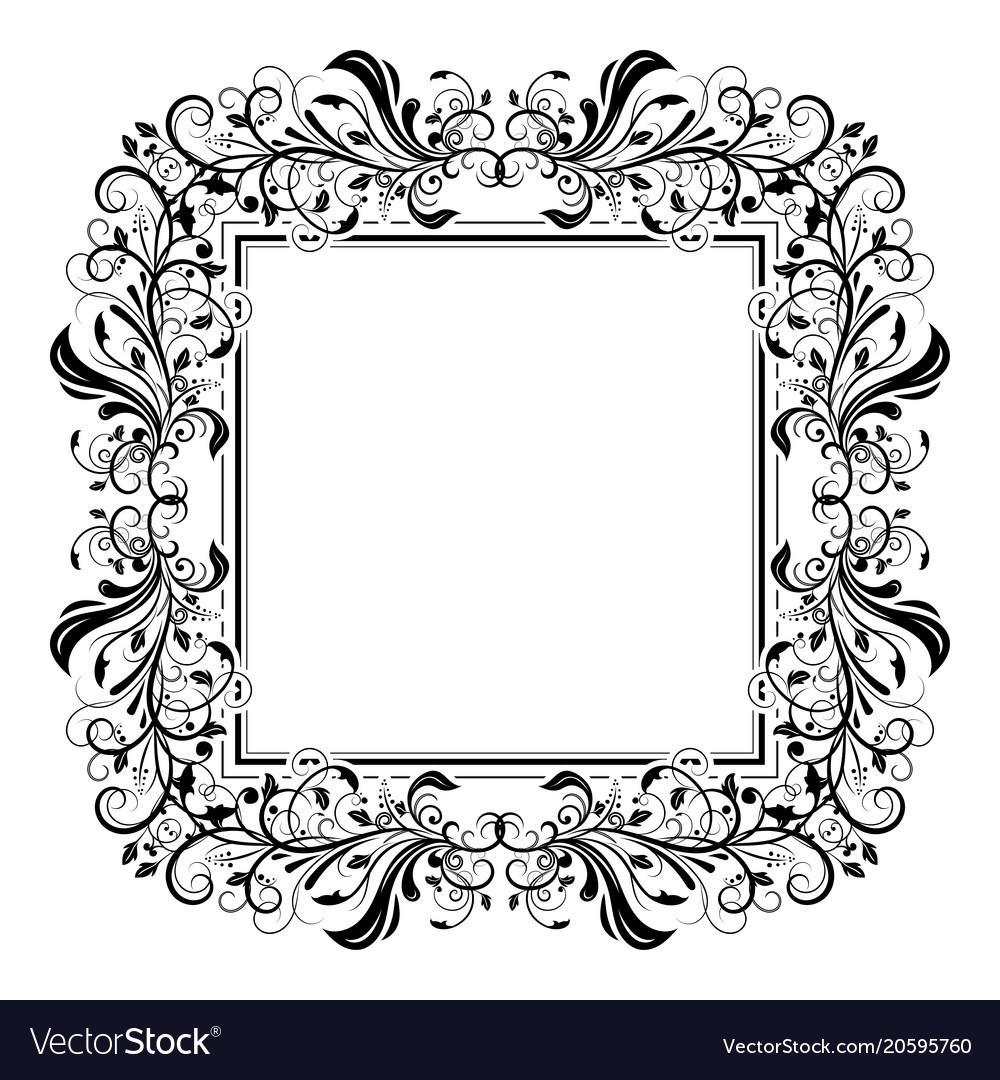 Floral decorative filigree frame for cards or Vector Image