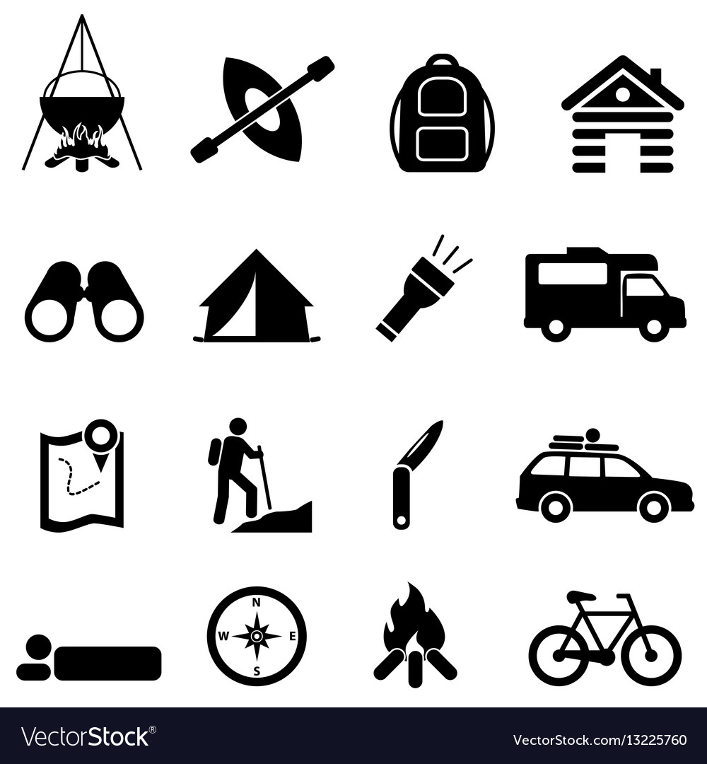 Leisure camping and recreation icons