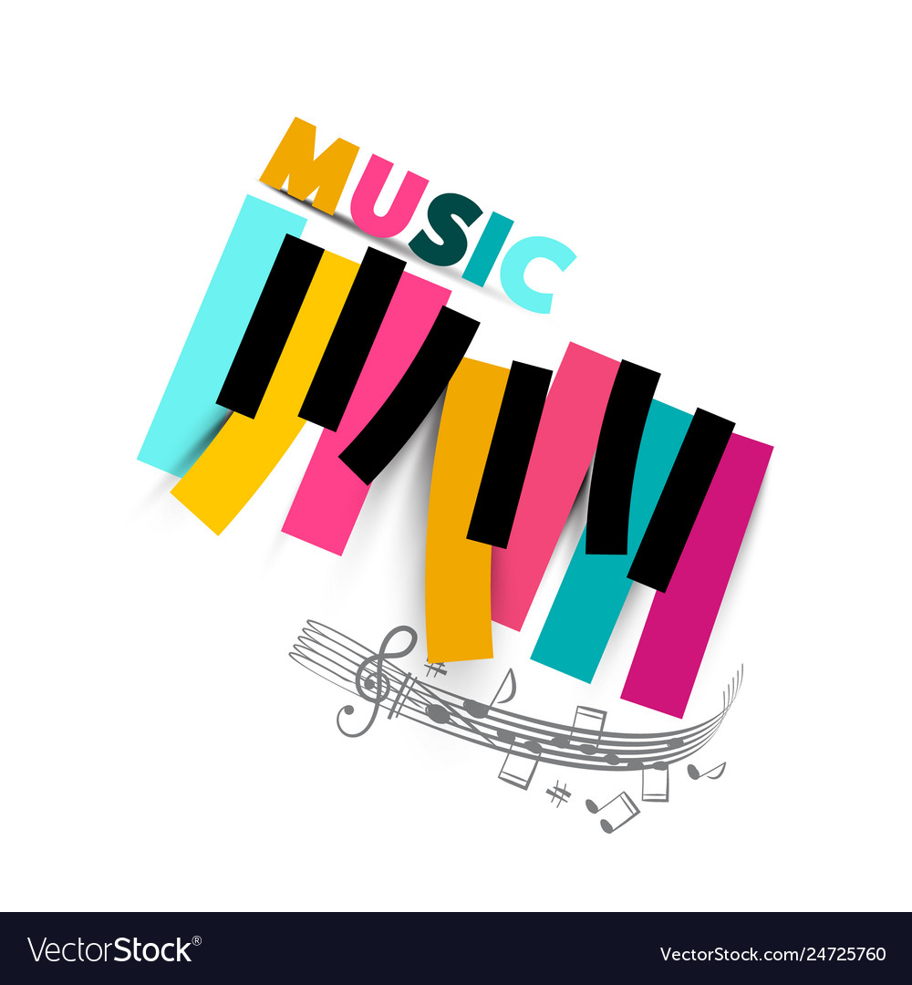 Music symbol with colorful piano keyboard and