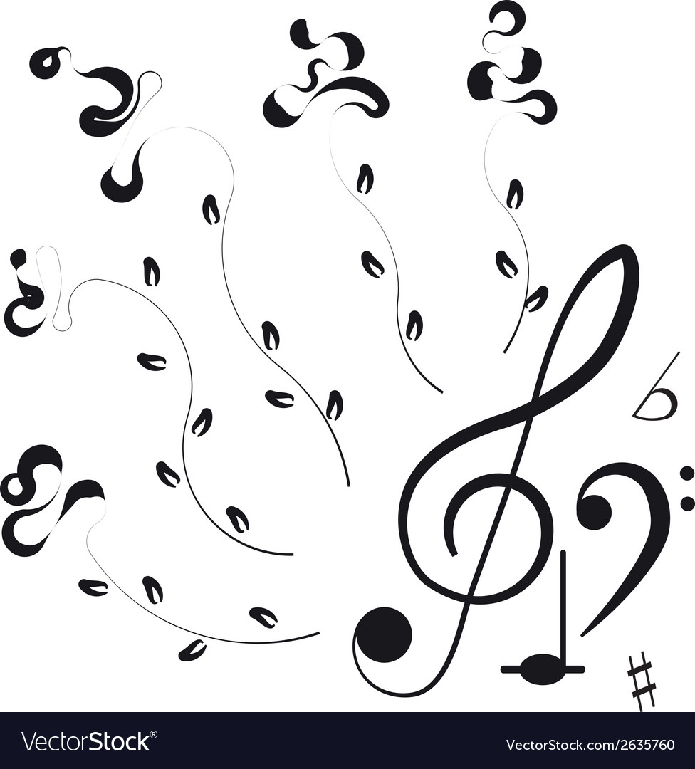 Music Treble clef and notes for your design
