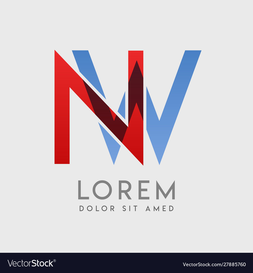 Nw logo letters with blue and red gradation