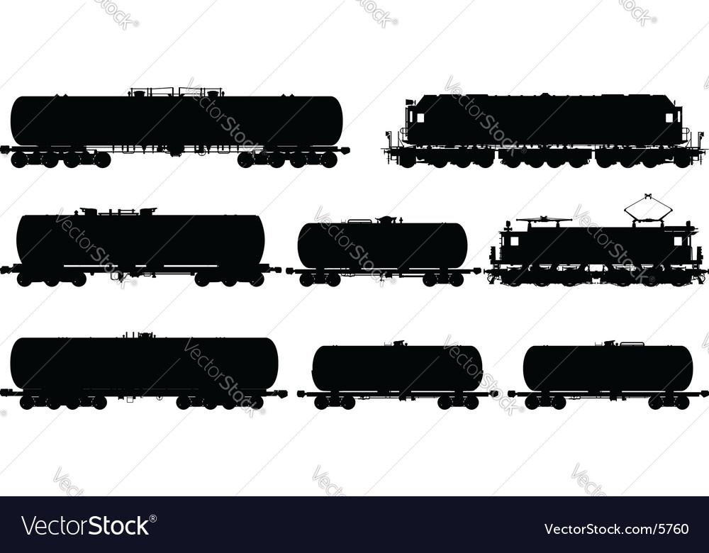 Railway silhouettes set vector image