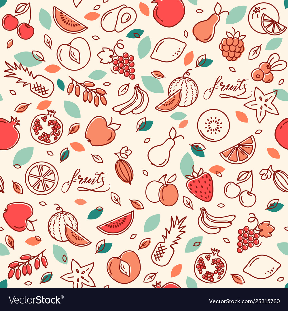 Seamless pattern of various fruits
