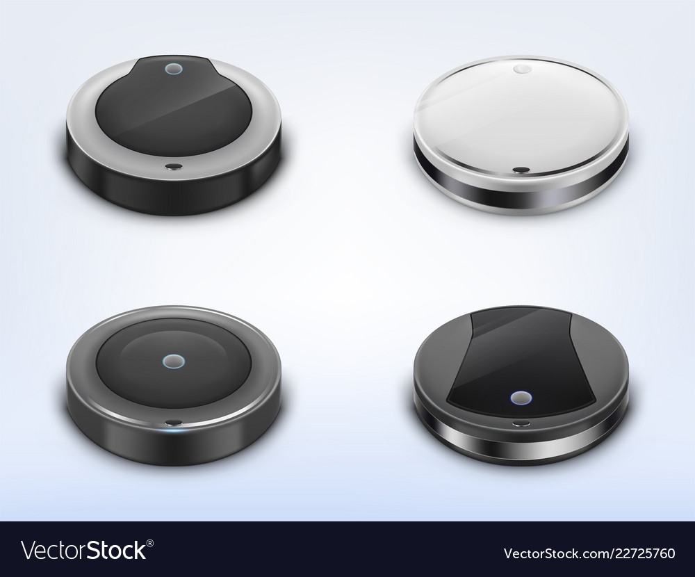 Set with round robotic vacuum cleaners