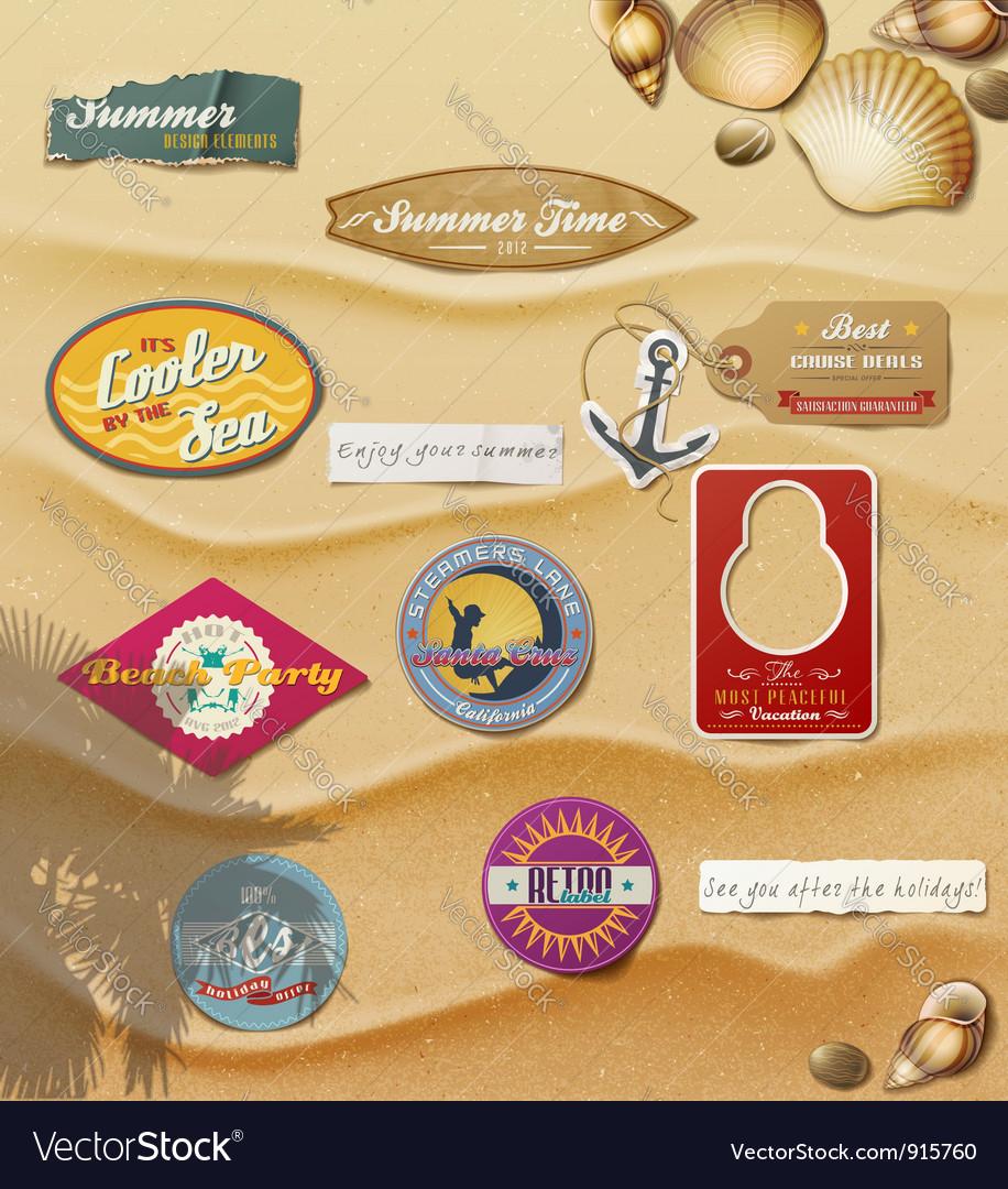 Summer Design Elements on sand background vector image