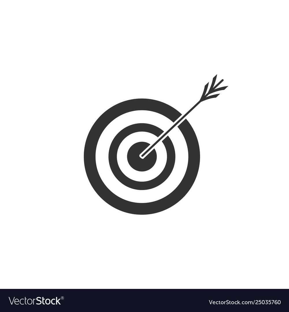 Target with arrow icon isolated dart board sign