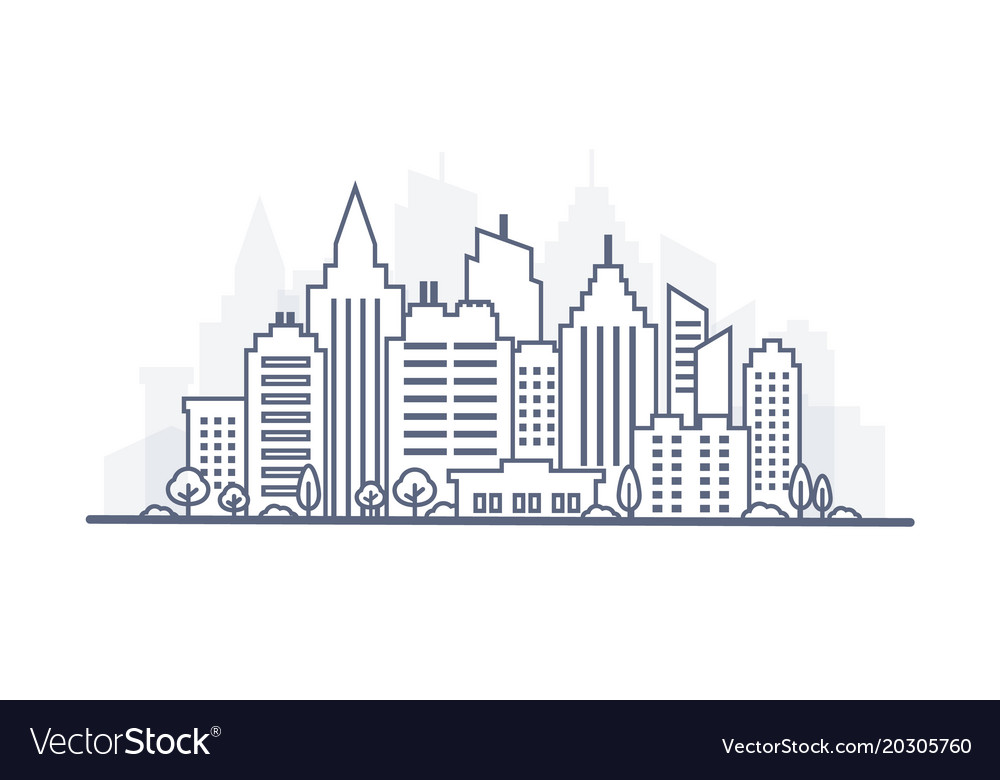 Thin line city landscape downtown landscape with vector image