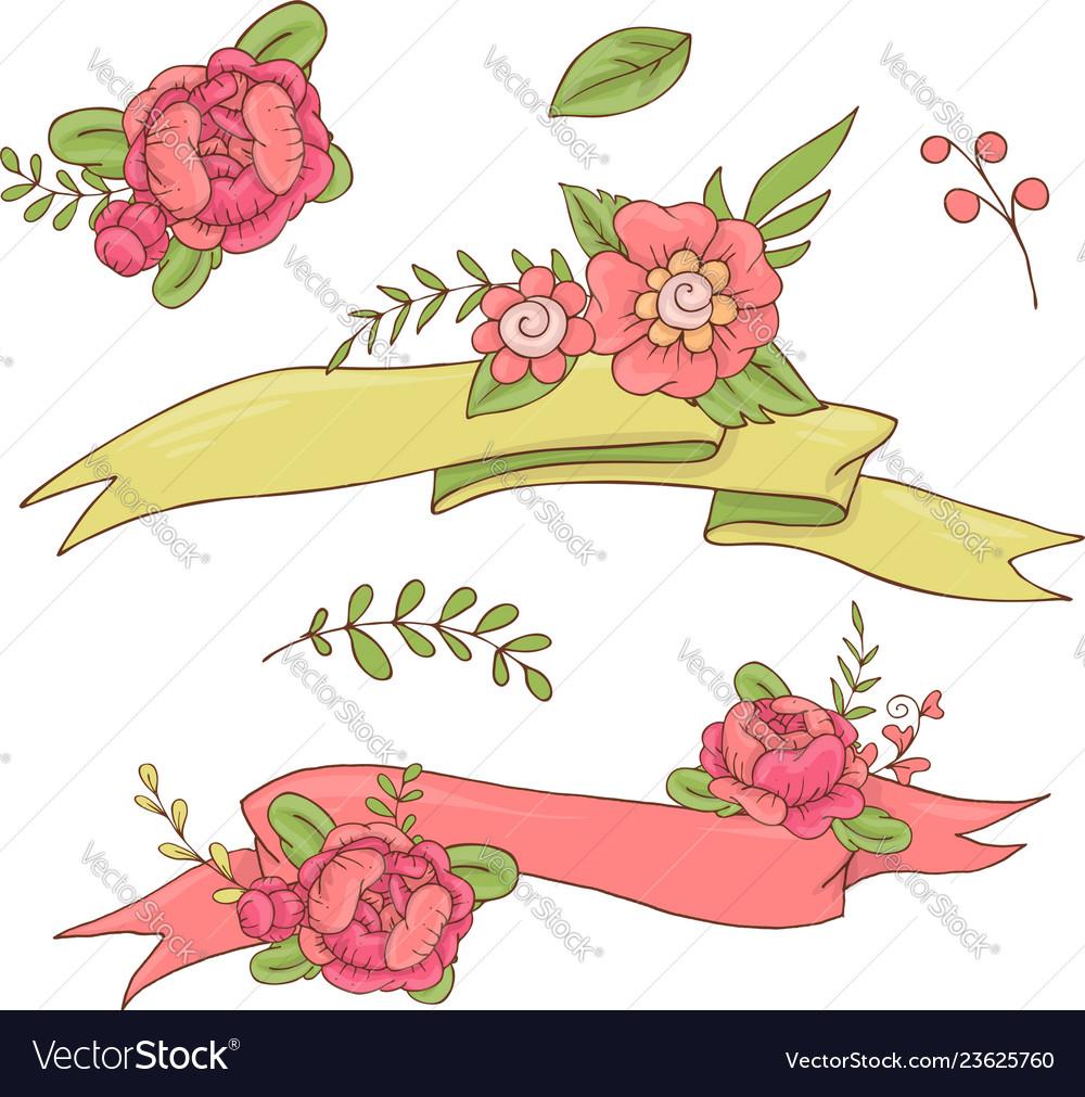 Vintage floral ribbon hand drawn doodle banner