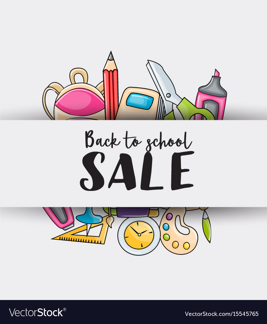 Back to school sale doodle clip art greeting card vector image m4hsunfo