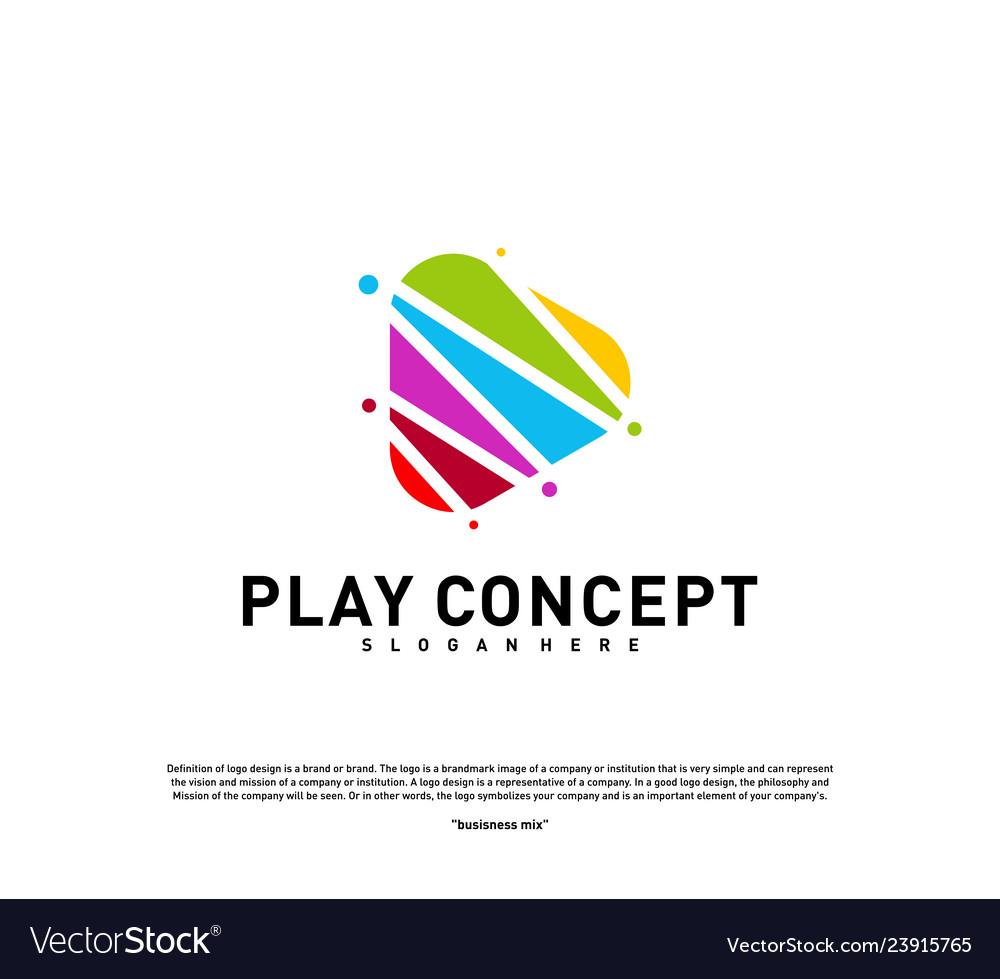 Colorful play logo design concept play logo