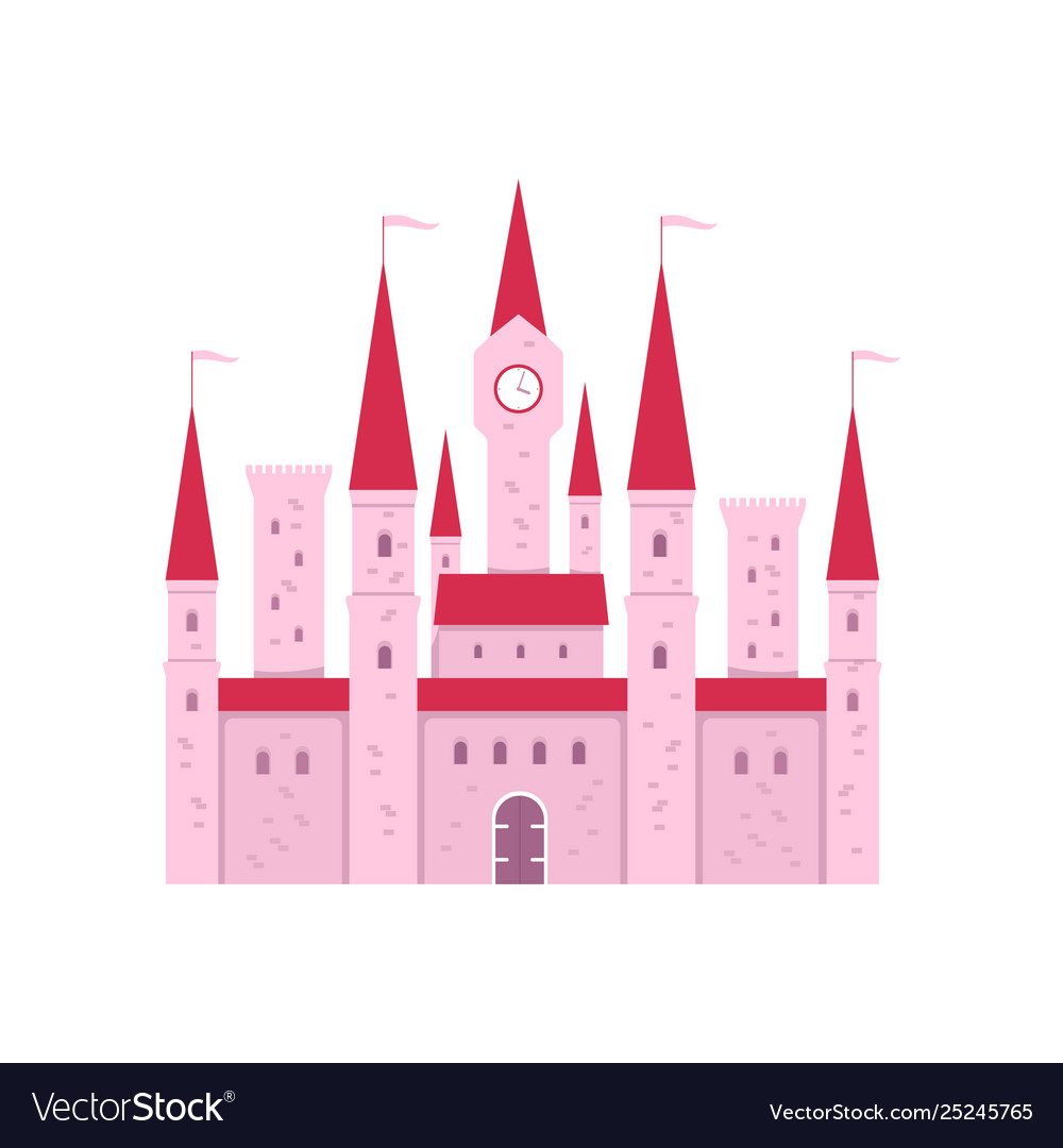 Cute pink fantasy castle with gate and tower clock