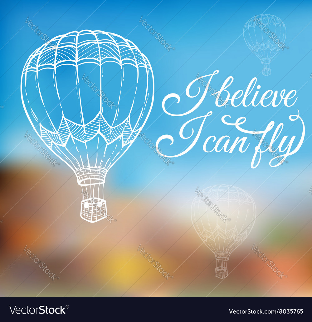 Hand drawn air balloon