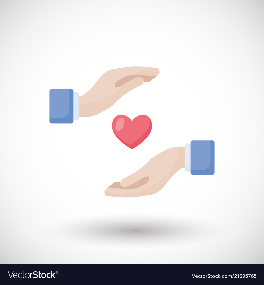 Heart in hands flat icon