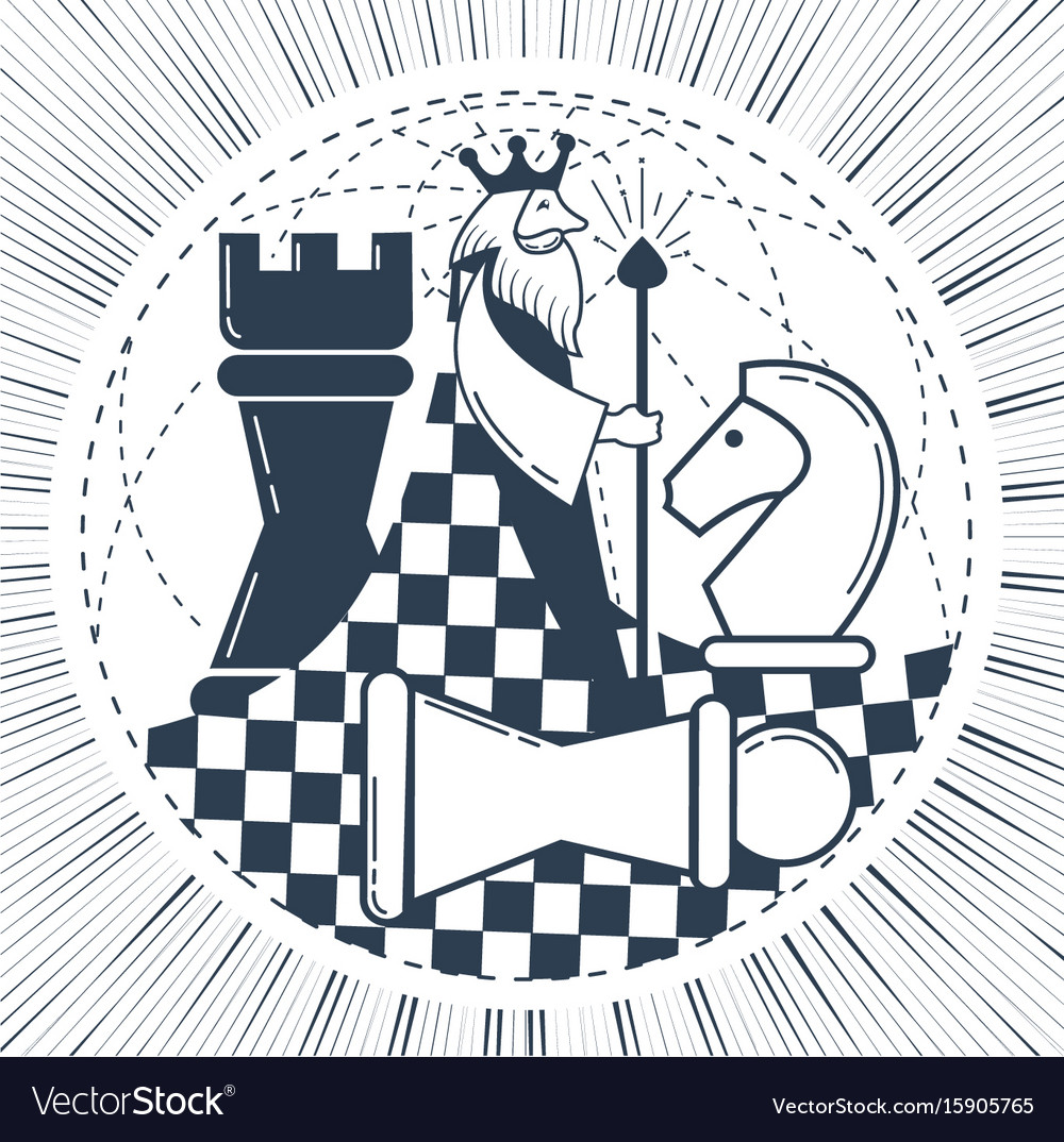 Icon of the global chess game chess vector image