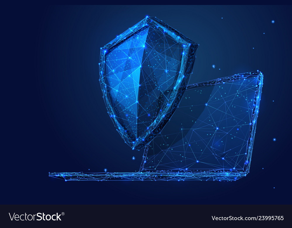 Laptop and shield low-poly blue