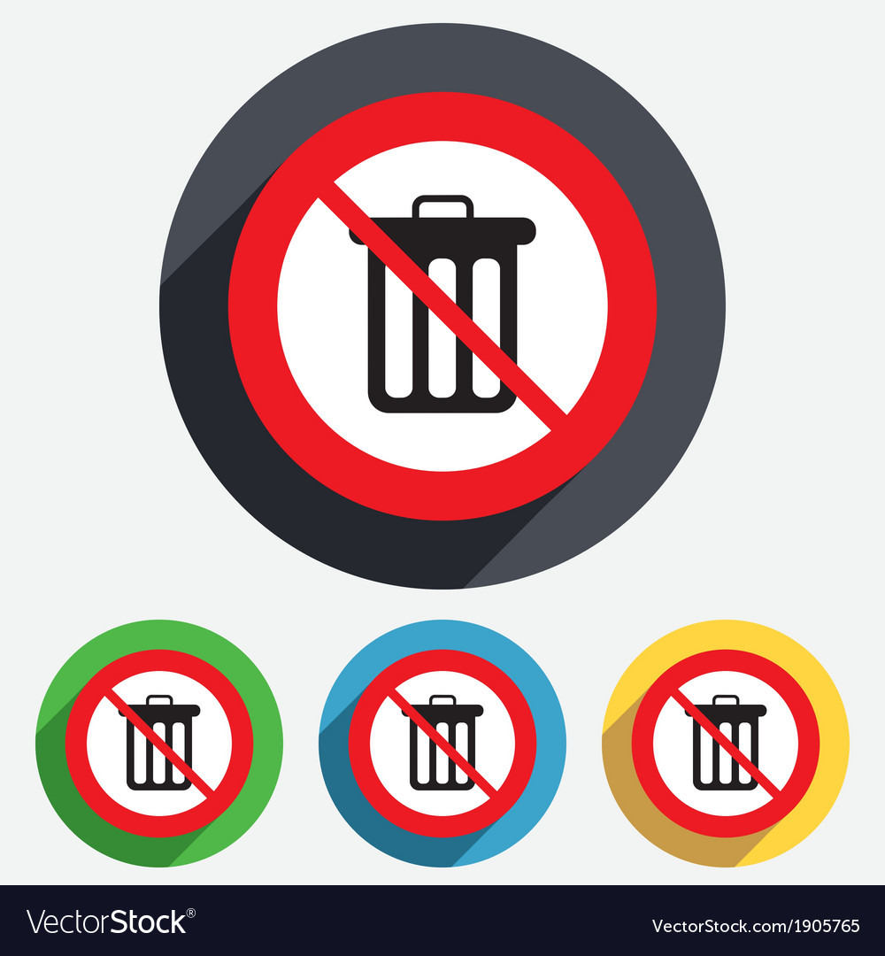 No Recycle bin sign icon Bin symbol