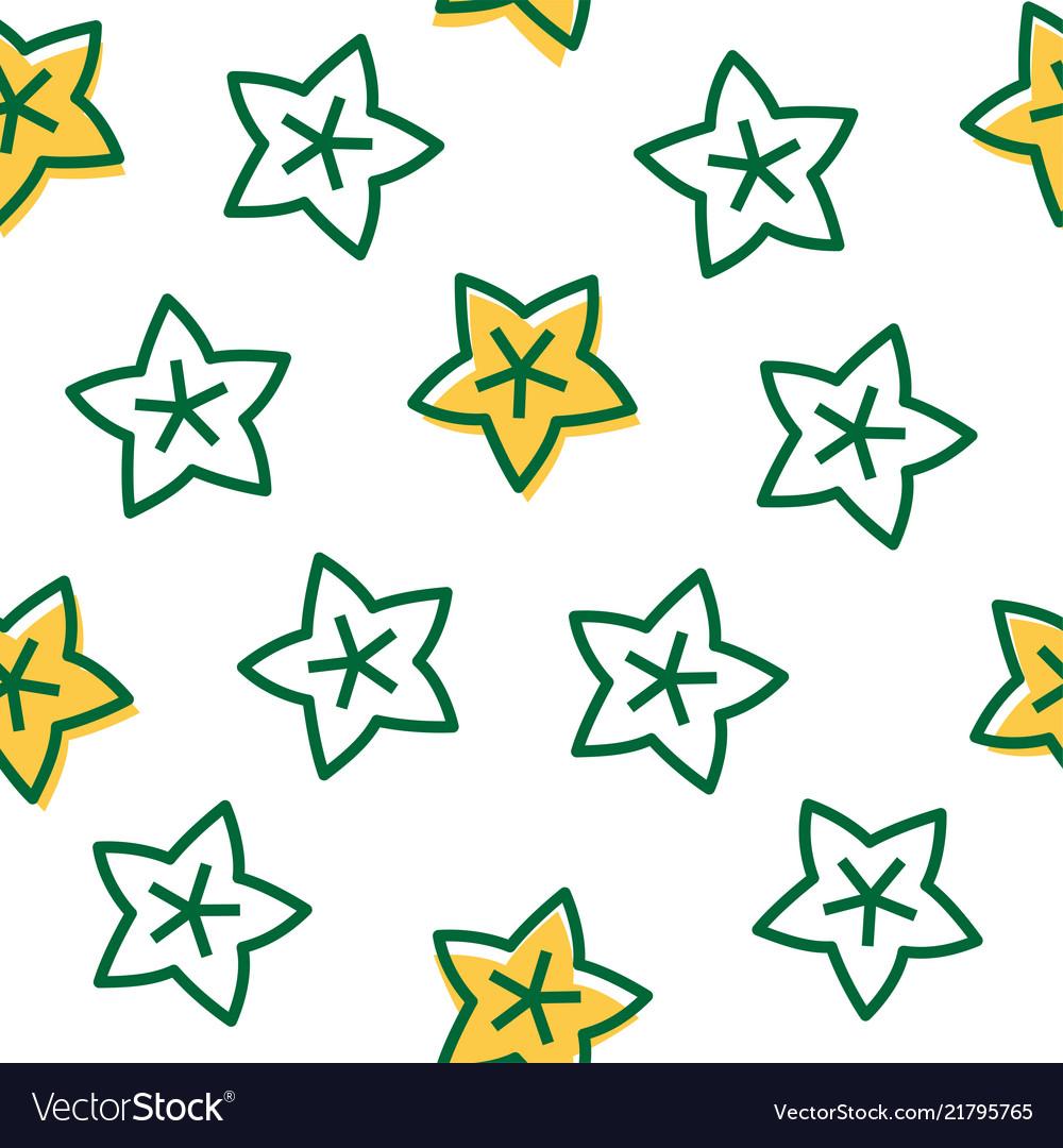 Outline star fruit tropical fruit seamless pattern
