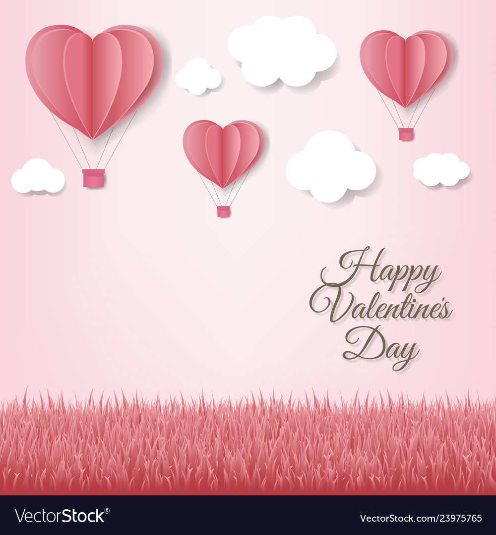 Paper hearts with cloud pink background card