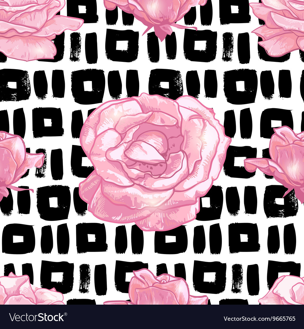 Seamless pattern with grunge background and roses