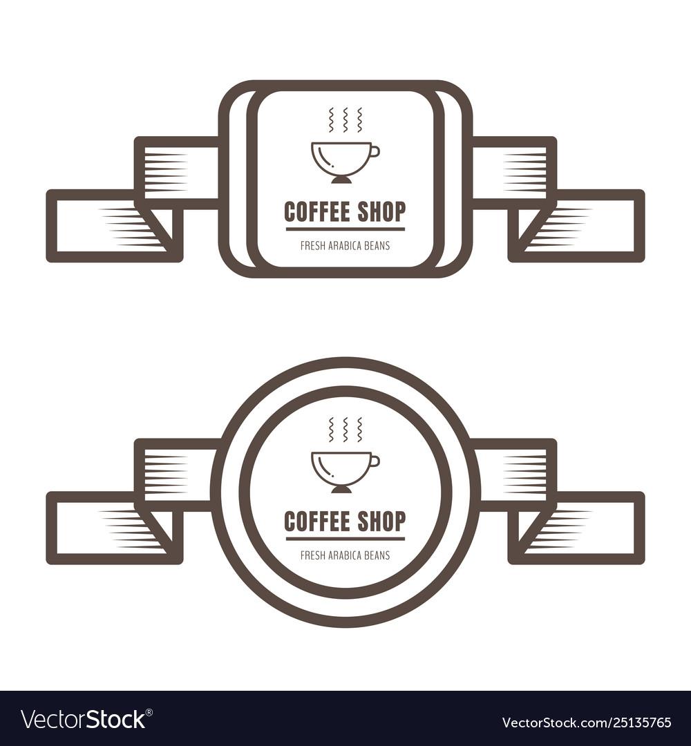 Set vintage coffee badges and labels brown