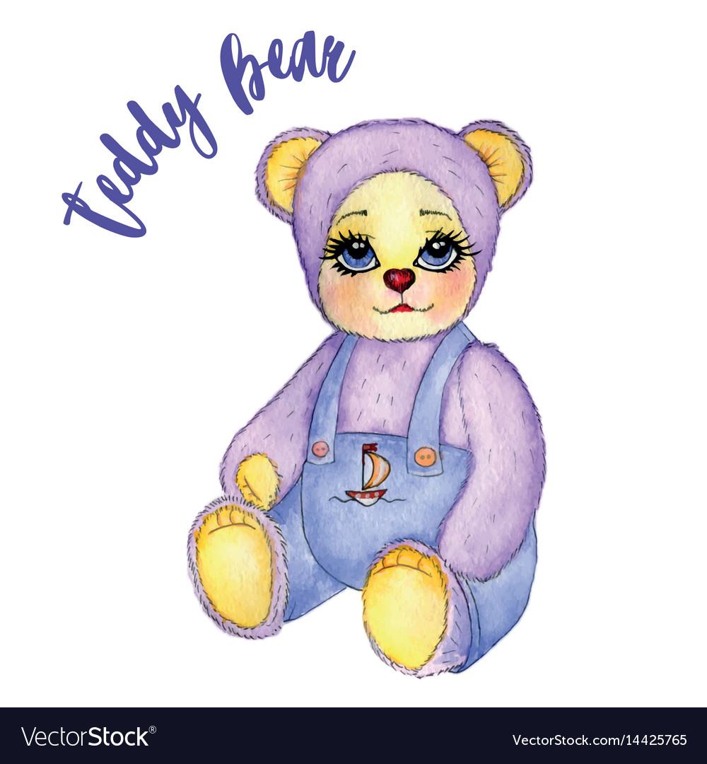 Toy baby bear cute pants watercolor vector image