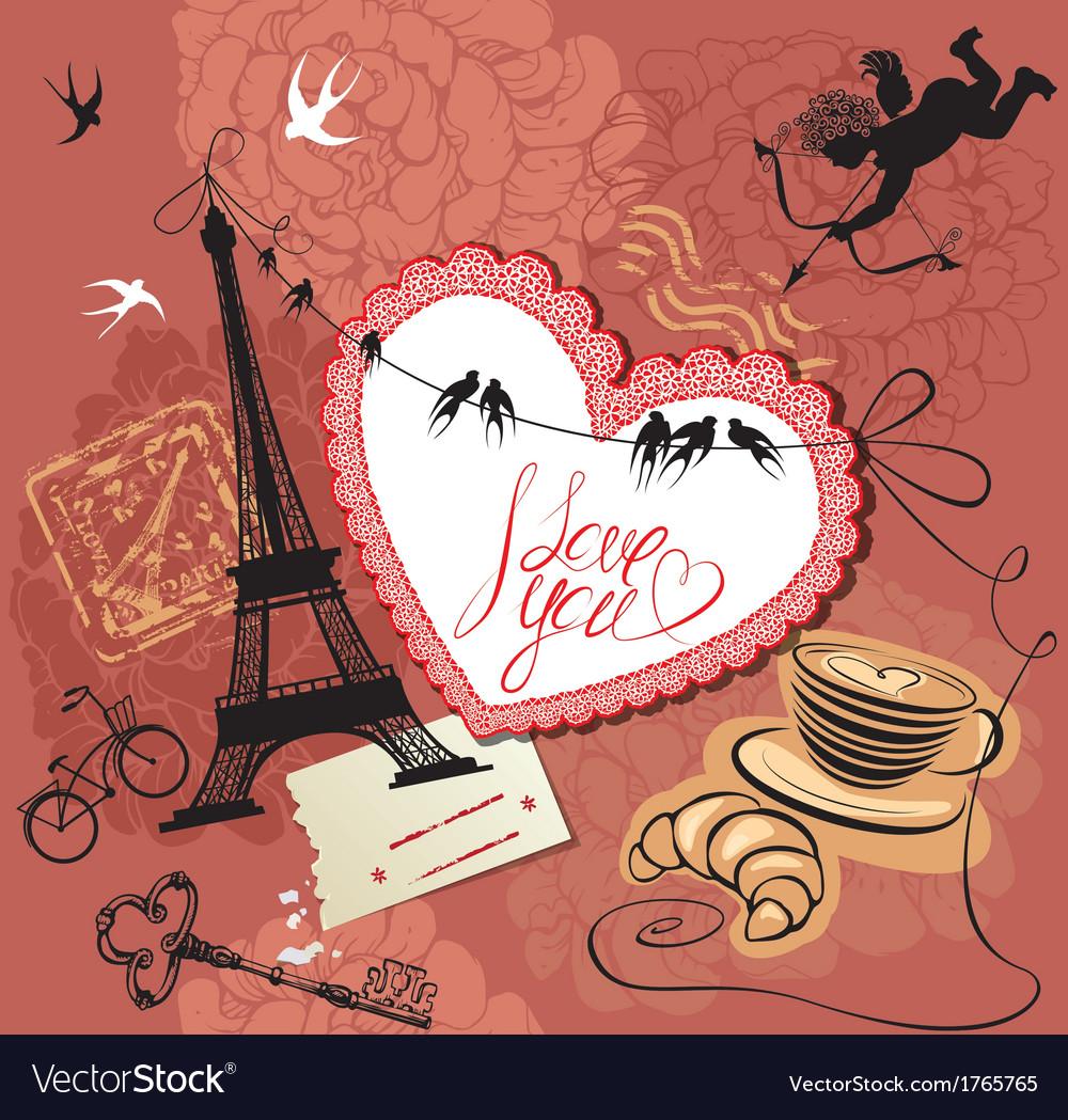 Vintage Valentines Day Postcard With Paris Theme Vector Image On Vectorstock