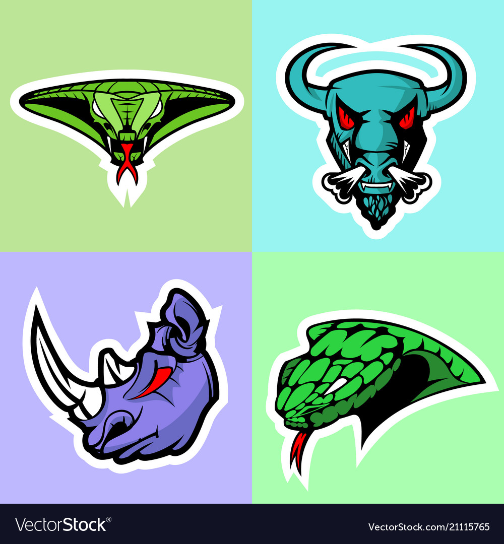 Viper bull rhino and cobra head logo set