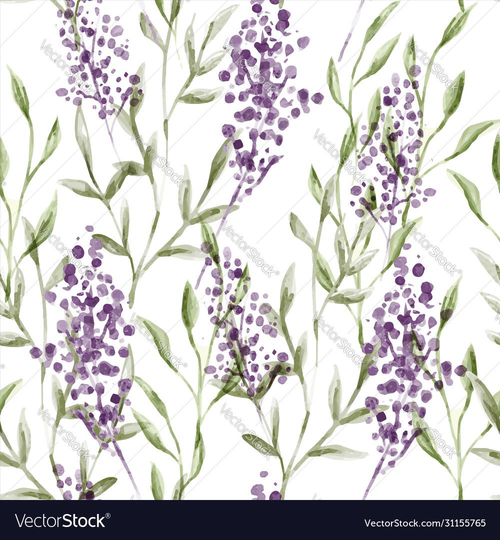 Watercolor lavender flower seamless pattern